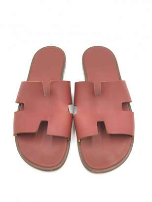 Hermes Red Leather Sandals