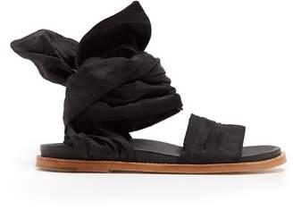 Marques Almeida MARQUES'ALMEIDA Checked-jacquard wrap sandals