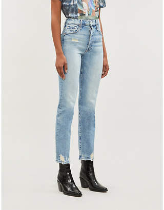 Mother Tomcat slim-fit straight high-rise jeans