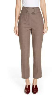 Rebecca Taylor Houndstooth Check Stretch Cotton Blend Pants