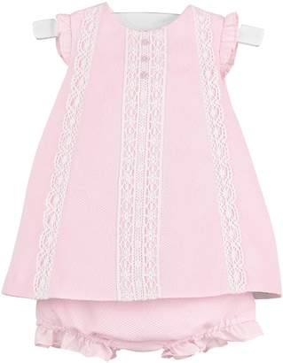 Luli & Me Pink-Pique Lace-Dress & Bloomers