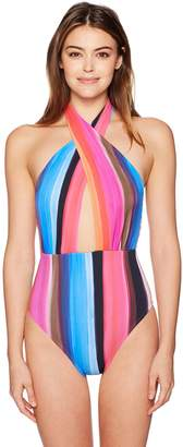 LaBlanca La Blanca Women's Over The Horizon Wrap Front Plunge Mio One Piece Swimsuit