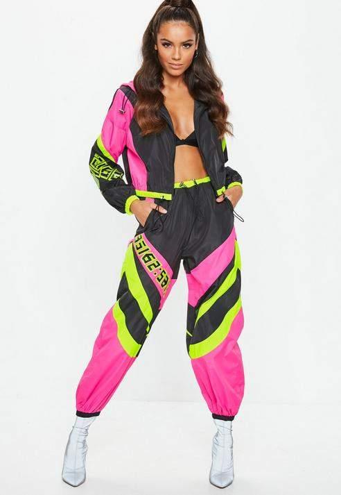 Neon Pink Motorcross Shell Suit Trousers, Black