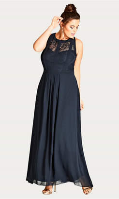 City Chic French Navy Panelled Bodice Maxi Dress
