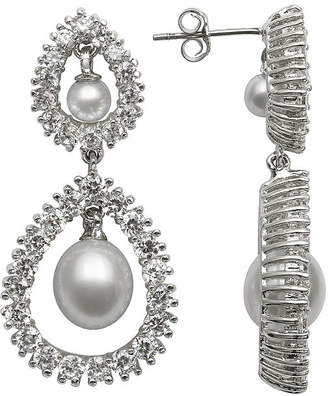 FINE JEWELRY Silver Over Brass Cultured Freshwater Pearl and Cubic Zirconia Bridal Earrings
