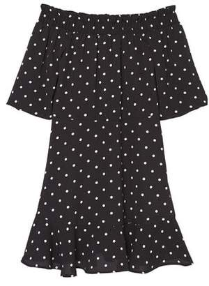 MANGO Off-shoulder polka-dot dress