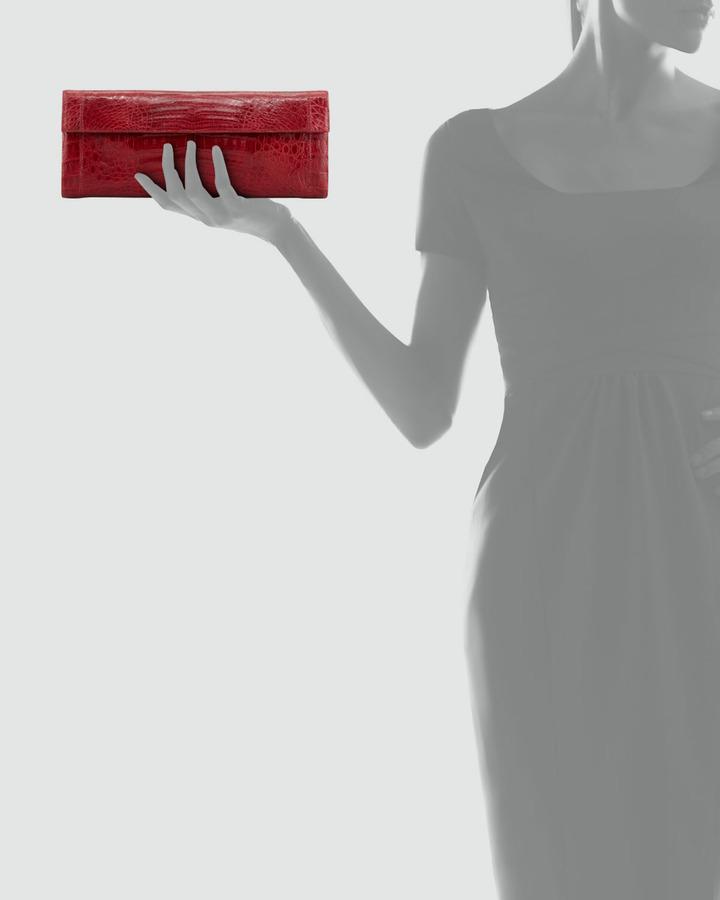 Nancy Gonzalez Shiny Crocodile Flap Clutch Bag, Red