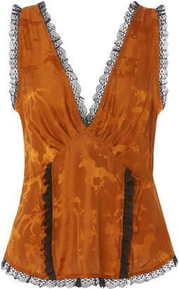 87596edec27492 Ganni Lace-Trimmed Silk Satin-Jacquard Top