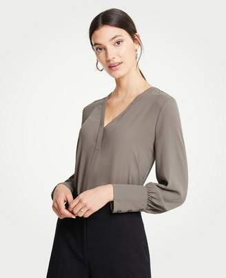 Ann Taylor Mixed Media V-Neck Popover