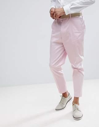 Asos Design DESIGN wedding tapered smart pants in pink cotton sateen