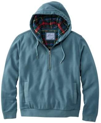 L.L. Bean L.L.Bean Men's Flannel Lined Sweatshirt, Half-Zip Hoodie