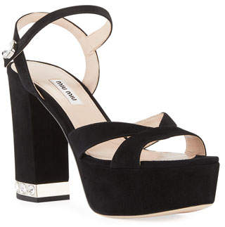 Miu Miu Suede Chunky-Heel Platform Sandal