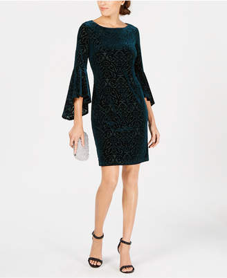 Jessica Howard Petite Flocked Velvet Sheath Dress