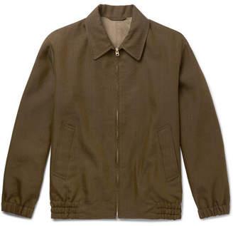 Camoshita Herringbone Linen-Blend Blouson Jacket
