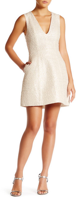 Alice + Olivia alice + olivia Pacey Low V-Neck Lantern Dress