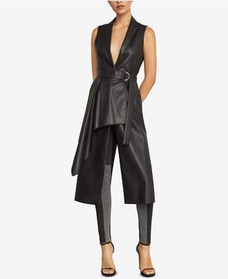BCBGMAXAZRIA Faux-Leather Drape-Front Long Vest