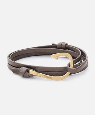 Miansai Hook Stone Leather Bracelet Matte Gold