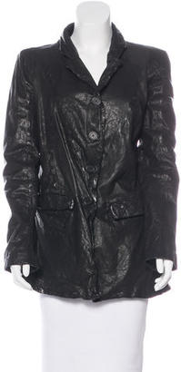 AllSaints Long Sleeve Leather Jacket $125 thestylecure.com