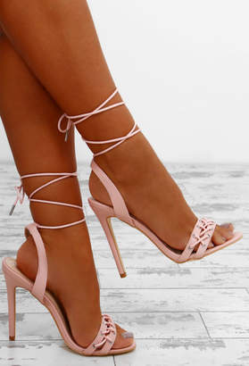 Pink Boutique Fresh Heights Pink Lace Up Ankle Wrap Heels