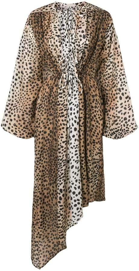asymmetric leopard print dress
