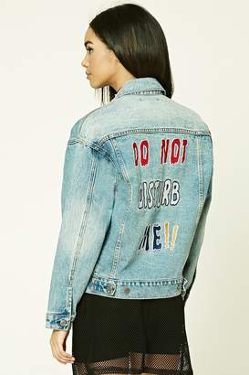 Forever 21 Do Not Disturb Me Denim Jacket