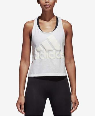 adidas Sport Id Cotton Cropped Racerback Tank Top