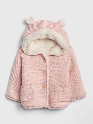 Gap Sherpa-Lined Garter Hoodie Sweater