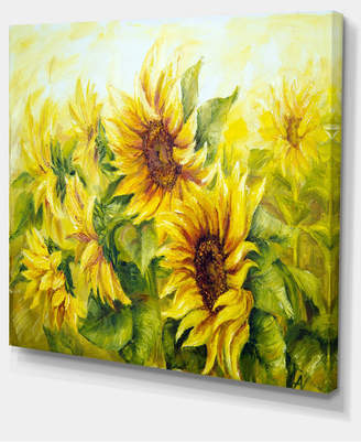 """Designart Bright Yellow Sunny Sunflowers Floral Painting Canvas - 40"""" X 30"""""""