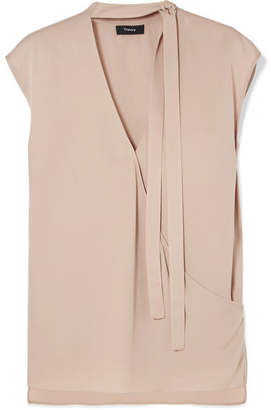 Theory Pussy-bow Wrap-effect Silk Blouse - Beige