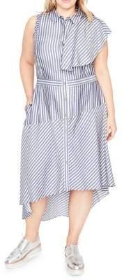 Rachel Roy Plus Asymmetrical Striped Dress