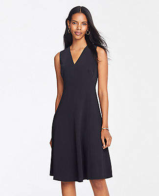 Ann Taylor Petite Seamed Sleeveless Flare Dress