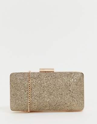 Lipsy glitter clutch bag in gold