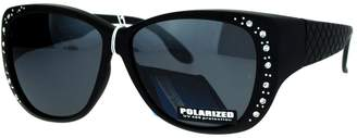 SA106 Polarized 55mm Fit Over OTG Butterfly Rhinestone Diva Sunglasses Shiny Tort