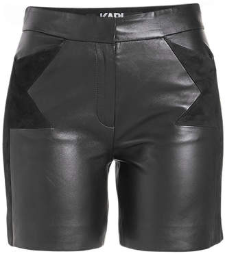 Karl Lagerfeld Paris Leather Shorts with Suede