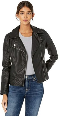 YMI Jeanswear Snobbish Faux Leather Jersey Lined Moto Jacket