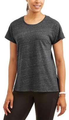 Athletic Works Women's Short Sleeve Crewneck Side Slit T-Shirt