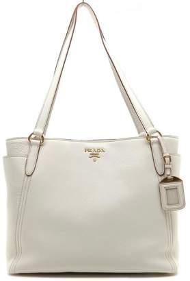 Prada Vitello Daino Shopping Tote White