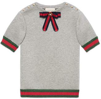 Gucci Web Bow Embellished Shirtdress, Size 4-12