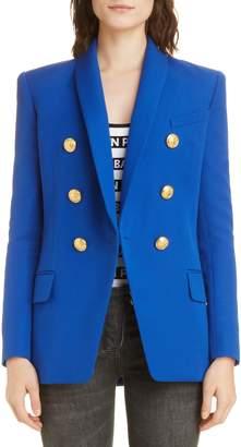 Balmain Long Double Breasted Wool Jacket