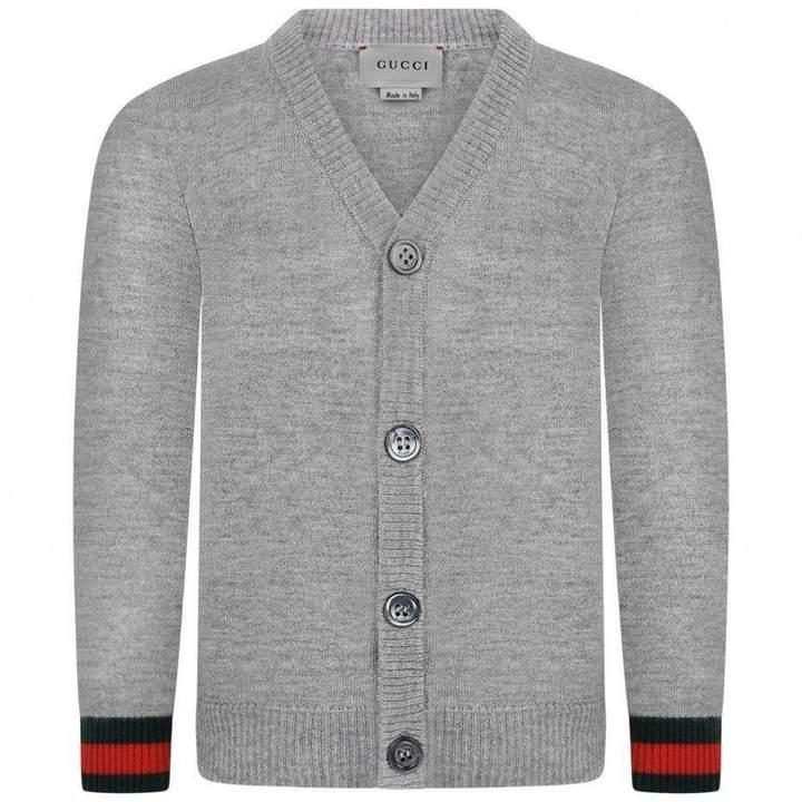 GUCCIBaby Boys Grey Wool Cardigan