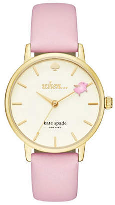 Kate Spade Analog When Pigs Metro Goldtone Leather Strap Watch