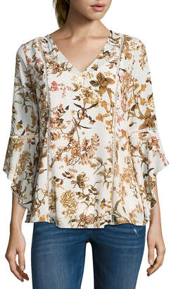 BELLE + SKY 3/4 Sleeve V Neck Lace Inset Blouse