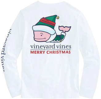Vineyard Vines Kids Long-Sleeve Elf Whale Pocket T-Shirt