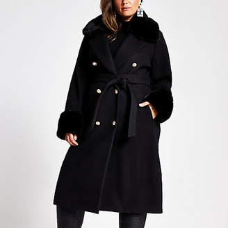 River Island Plus black faux fur collar belted coat