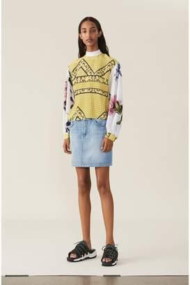 Ganni Classic Denim Skirt - Bleached Denim