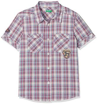 Benetton Boy's Shirt-5FU95QCP0 Blouse, Multicoloured (White and Blue Checked Shirts 953), (Manufacturer Size: 2y)