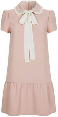 RED Valentino Silk Ruffle Collar Shirt Dress