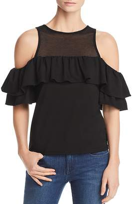 Red Haute Ruffle-Trim Cold-Shoulder Top