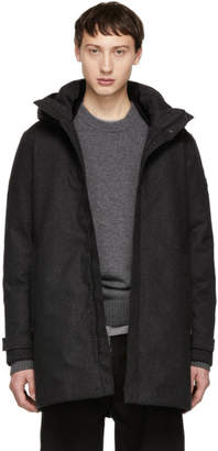 Woolrich John Rich and Bros Grey Down Tech Wool Coat
