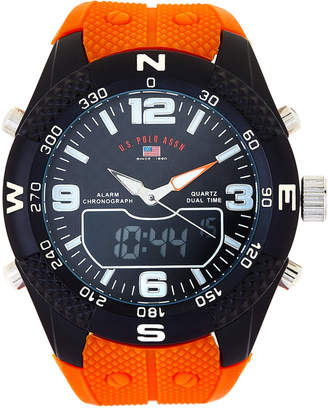 U.S. Polo Assn. US9661 Black & Orange Rubber Chronograph Watch